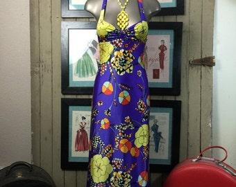 Fall sale 1970s dress maxi dress halter dress 70s dress size x small Vintage dress op art dress purple dress