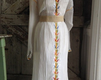 Fall sale 1970s ethnic dress 70s gauze dress size medium Vintage dress festival dress