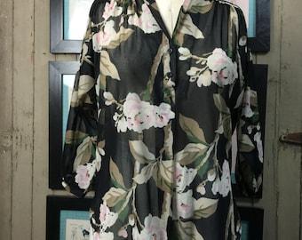 1970s sheer blouse 70s black top size medium Vintage floral blouse