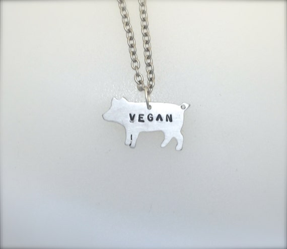 New Mini Vegan Pig Necklace-Vegan Jewelry-Vegan Gift-Vegan Necklace-Birthday-Anniversary-Recycled-Pig Lover