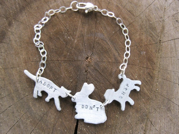Adopt Don't Shop-Cat,Dog, & Rabbit Bracelet-Vegan Bracelet-Personalized-Gift-Birthday-Anniversary-Rescue Pets-Companion Animals-Eco Friendly
