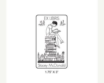 Xmas in July Girl Reading on a Stack of  Books Ex Libris Bookplate Rubber Stamp L04