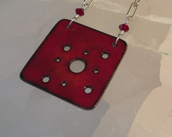 Red Torch Enamel Pendant Necklace