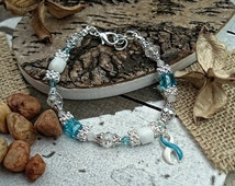 Eating Disorder Recovery Jewelry, Teal & White Ribbon Charm, Awareness Bracelet  #SV