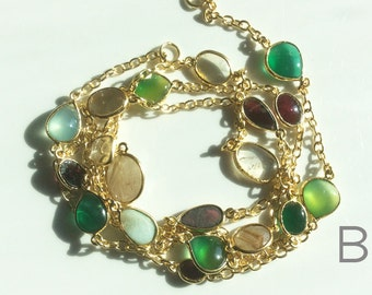 Mixed Gemstone Bezeled 24 kt. Gold Plated Chain by the Foot (B)