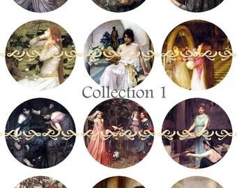 Waterhouse Magnets, John William Waterhouse, Famous Waterhouse Pins, Lady of Shalott, Shakespeare, Ophelia, Famous Paintings, Set 1