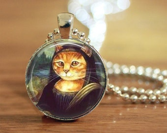 Mona Lisa Kitty Pendant, Cosplay Kitty Pendant, Mona Lisa Cat, Dressed Cat, Cat Lover Jewelry
