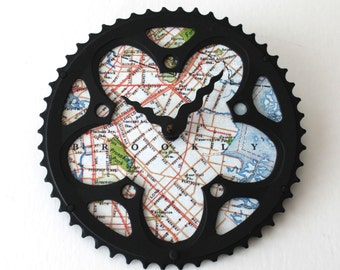 Brooklyn New York Bicycle Clock  |  Map Clock  |  Brooklyn Map Clock  |  Bike Gear Clock