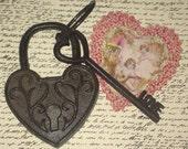 Cast Iron Heart Shaped Padlock Scrolls with LOVE Key Wedding Lock FREE SHIP