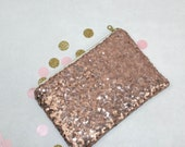 Monogram Clutch Sequins Leather Bag - Blush Pink Sequins and Gold, Champagne, Dark Gold Leather - Personalized Sparkle Evening Bag