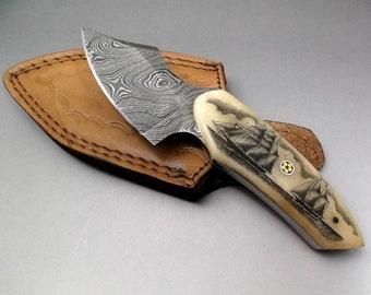 Scrimshaw Knife Damascus Knife Damascus Steel Fixed Blade Knife  Ox Bone Handles Nautical Scene Sailing Ship and Schooner Hand Etched