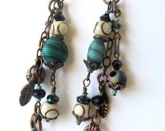 Ancient Earrings, artifact earrings, dangle earrings, ethnic earrings, turquoise earrings, bone beads, ancient relics, boho earrings