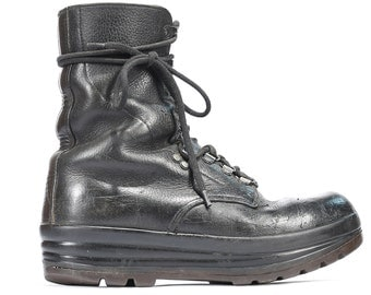 BLACK Combat Boots Mens Leather Vintage 1980s Work Military Motorcycle Backpacker Boots Steel Toe Wedge Sole  Eur 41  Us Mens 8  UK 7.5