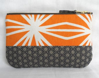 Retro Geo Fabric Make Up Bag, with Japanese fabric. Zip Purse, Pouch.  Ipod Case. Orange Navy White.