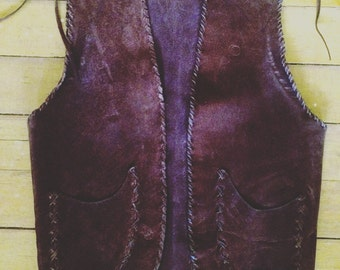 Vintage unisex handmade chocolate brown leather vest. Size XS(mens) Small(womens)