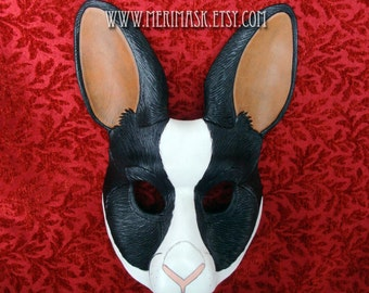 FREE SHIPPING USA Rabbit Mask ... leather bunny mask masquerade costume mardi gras halloween burning man fantasy