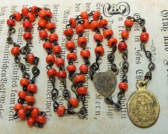 Vintage Childs Religious Rosary Orange Glass Beads