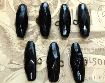 Vintage Faceted Black Glass Buttons Brass Shank Victorian
