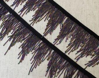Seed Bugle Bead Glass Fringe Trim Purple Iris 1 yard