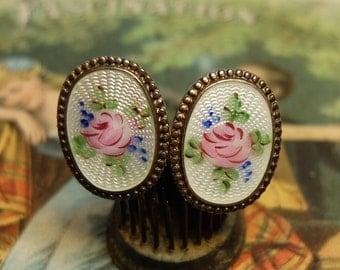 Vintage Enamel Rose Screw Back Earrings