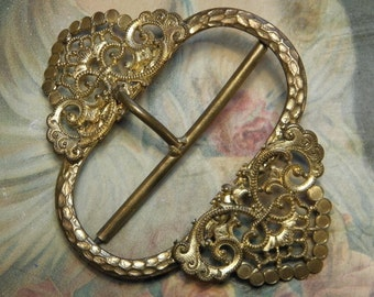 Antique French Dress Buckle Brass Accessory