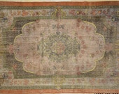 Dark Multicolor Floral Medallion Rug Vintage 6' x 9'
