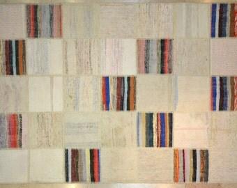 Multicolor Neutral Stripe Patchwork Rug Wool Kilim Handwoven Turkish 5'x7'