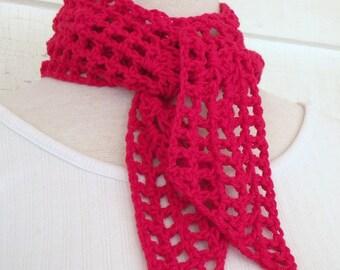 Red Organic Cotton Neck Scarf Skinny Scarf Neck Kerchief Headband