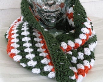 Green, Orange and White Striped Twisted Cozy Cowl
