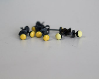 Candy Studs in Bright Sunshine Yellow Resin and Black Sterling Silver Earrings
