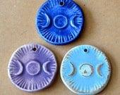 3 Handmade Ceramic Beads - Triple Goddess Moon Pendants - Handmade beads in Stoneware - Spiritual Pagan Pendants