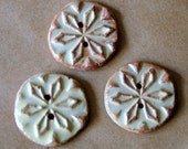 3 Handmade Stoneware Snowflake Buttons - Rustic buttons in Rustic Rust Glaze