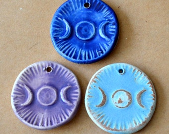 3 Handmade Ceramic Beads - Triple Goddess Moon Pendants - Handmade beads in Stoneware - Spiritual Pagan Pendants