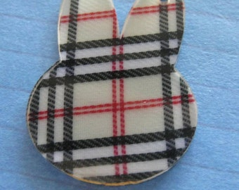Kitschy Blue and red acrylic Plaid Bunny ears pendant x 1