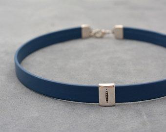 Choker necklace, Leather collar, Denim Blue Leather choker, bdsm collar, Chocker