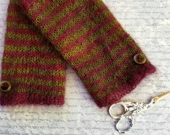 Mohair Striped Fingerless Gloves in Eggplant and Olive