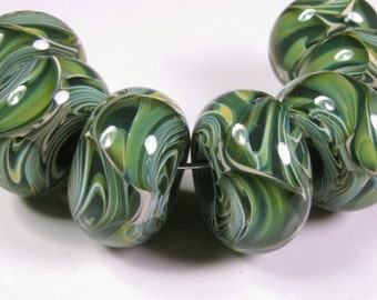 Lampwork Beads - Lampwork Boro Glass Beads, Green Glass Bead, bbglassart, Woodland Prisms