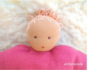 Waldorf doll, pillow doll 10inch, for children at all ages, suitable for babies , made of natural materials.