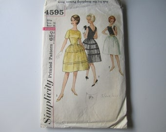 1960s Womens Bateau Neck Dress Simplicity 4595 Vintage Sewing Pattern Misses Knee Length Party Full Skirt Size 16 Bust 36