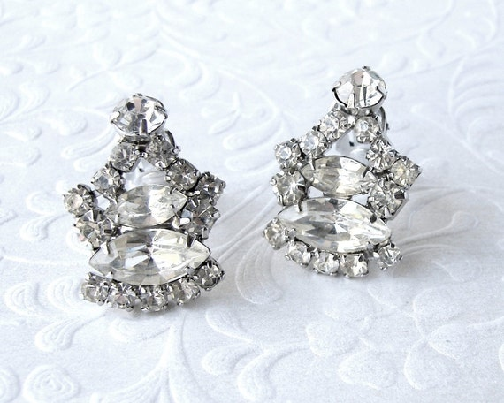 Rhinestone Clip Earrings Classic 1950's Costume Jewelry Ballroom Pageant Bridal Wedding Formal Evening Prom Bohemian Chic Vintage Bride