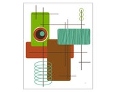 Modop Art Print Mid Century Modern / Atomic Age Inspired in Various Colors & Sizes