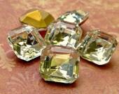 June Sale - Vintage Glass 12x12mm Glass Transparent Clear Rhinestone Jewels (49-9F-6)