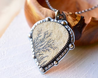 Large Lime Manganese Dendrite Stone Necklace, Handmade in Sterling Silver, Mineral Specimen Pendant, Stone Jewelry