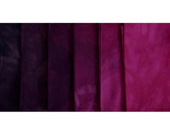 BLACKBERRY Shades - hand dyed Fabric - 6 pc Fat Quarter Gradation Bundle - Tuscan Rose CRBK523