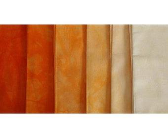 Clear ORANGE Shades - hand dyed Fabric - 6 pc Fat Quarter Gradation Bundle - Tuscan Rose CO401