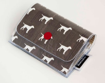Handmade Vinyl Accordion Wallet - Dog Days / small wallet, snap, gift, cute wallet, card case, vinyl wallet, womens wallet, dogs, puppies
