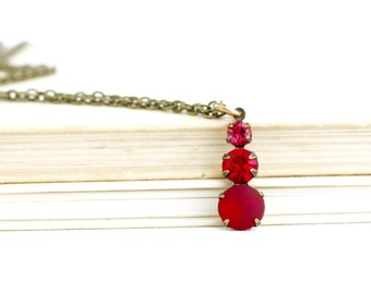 Red Necklace - Delicate Necklace - Jewel Pendant - Vintage Red Jewel Pendant - Vibrant Red - Jewel Necklace - Gift For Woman - Gift For Her