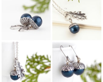 Blue Acorn Jewelry Gift Set, Valentines Woodland Gift Set, Holiday Jewelry, Gift For Wife