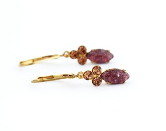 Burgundy Earrings, Vintage Style Crystal Earrings, Brass Vintage Jewel Earrings, Elegant Earrings, Burgundy and Topaz, Gift For Her