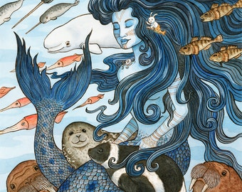 "Sedna Arctic Mermaid Sea Goddess Art Print 8""x10"""